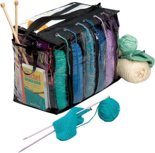 Deluxe Fold-Up Needle Yarn Arts Caddy Needle Storage Bag for Knitting,Yarn,Crotchet Tangle Free Yarn Caddy Bag Organizer for Tools /& Travel