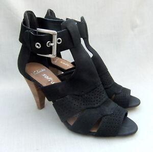 5e5ab18777ef NEW CLARKS SOFTWEAR THAI DANCE WOMENS BLACK NUBUCK LEATHER SANDALS ...