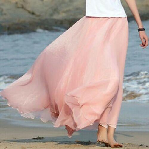 Women Boho Chiffon Long Maxi Skirts Summer Beach Elastic Waist 2-Layer Dress