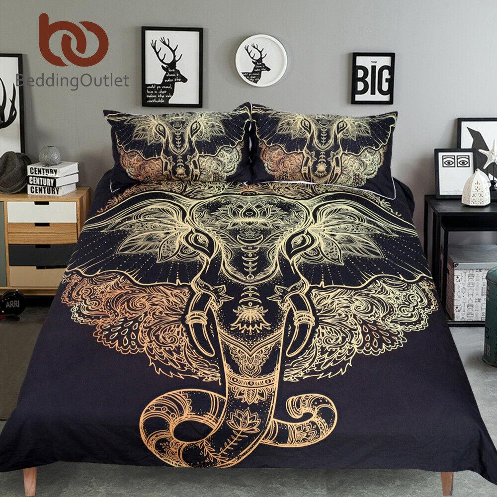 Tribal Elephant Bedding Set Boho Mandala Golden Design Ethnic Indian God Ganesha