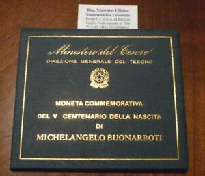 NL-ITALIA-500-Lire-Argento-1975-MICHELANGELO-BUONARROTI-FDC-In-set-Zecca