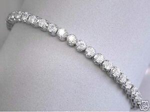 10-00ct-F-VS2-Round-Brilliant-Cut-Diamond-Tennis-Line-Bracelet-18ct-White-Gold