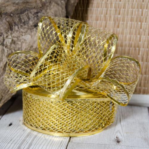 Christmas 40mm Wired Metallic Ribbon Wedding Cake Decoration Wreath Bow Gift