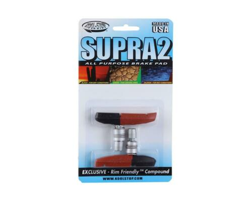 KS-SUP2DL Kool Stop KOL Supra 2 U//V-Brake Pads Black//Salmon Wet//Dry Conditions