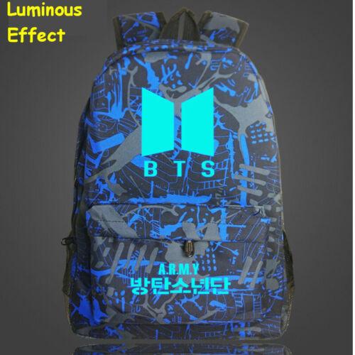 Kpop BTS Bangtan Boys Luminous Backpack Fashion Nylon Shoulder Travel School Bag