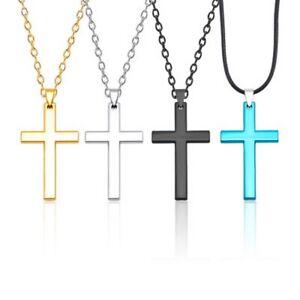 Herren-Edelstahl-Kette-Halskette-Kreuz-Cross-Anhaenger-gold-silber-schwarz-blau