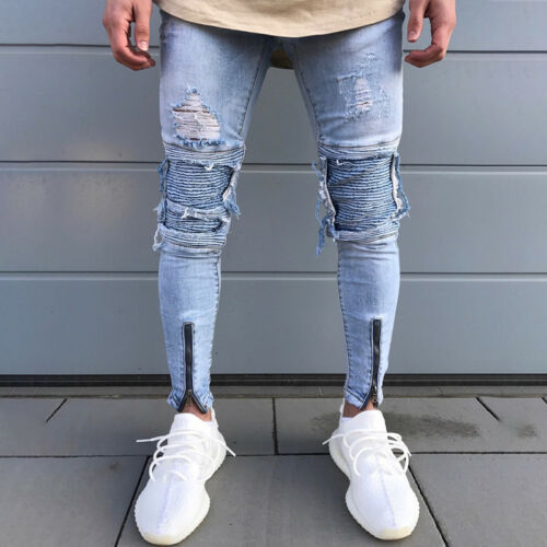 Mens Stretchy Ripped Patch Skinny Biker Jeans Destroyed Tapered Slim Denim Pants