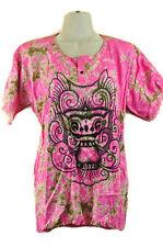 Batik Shirt Bali Barong Dragon Blouse Pink Frayed Boho Unique Artsy Art to Wear
