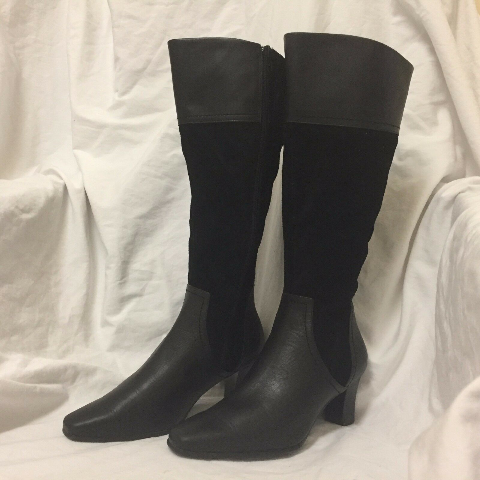 David Tate Women's Black Leather & Suede Knee High Boots Sz 6