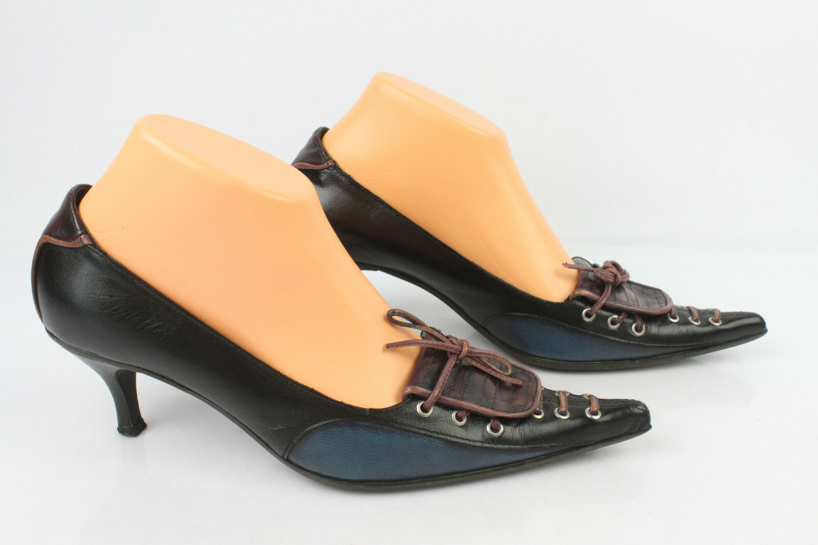 Court shoes SAN MARINA Black Leather bluee and Plum T 38 VERY GOOD CONDITION