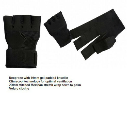 Inner Hand Quick Wraps Gloves Boxing Fist Bandages MMA Gym BLACK