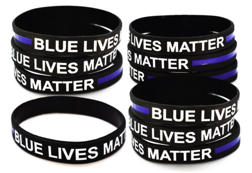 10 Blue Lives Matter Thin Blue Line Police Support Silicone Wristband Bracelet