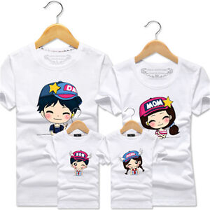 0896a11461 Dad Mom Son Daughter Family Matching Outfits Shirt Blouse Tops Tee ...