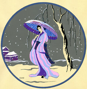 1930s-French-Pochoir-Print-Edouard-Halouze-Japanese-Geisha-Pink-Dress-Umbrella