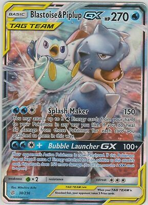NM Pokemon BLASTOISE /& PIPLUP GX Card COSMIC ECLIPSE Set 38//236 SM Rare Tag Team