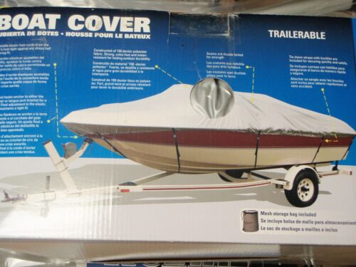 """BOAT COVER V-HULL RUNABOUTS LOW PROFILE 50-97351 BOATS 21FT TO 23FT 105/"""" BEAM"""