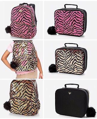 Justice Set of 2 School Backpack /& Lunch Tote Flip Sequin Gold Tiger