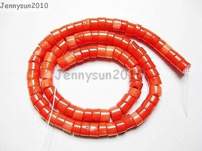 Natural Coral Gemstone Heishi Loose Spacer Beads 16'' Inches Strand Orange