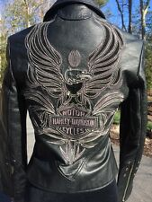 Harley Davidson Women's ISIS Eagle Black Leather Jacket XS 97028-06VW