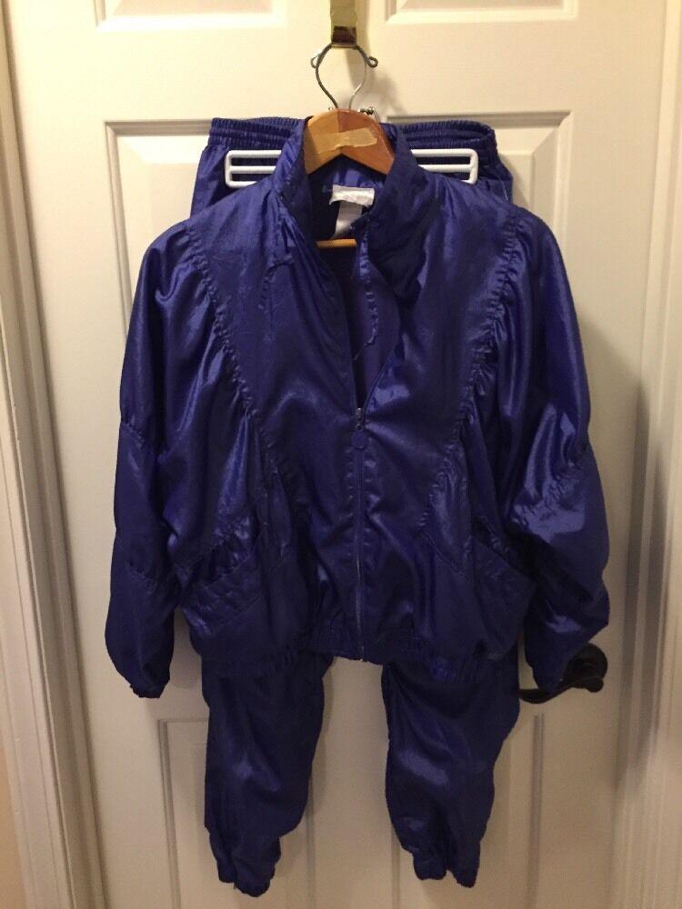 Vintage ADIDAS TREFOIL TREFOIL TREFOIL Logo Purple shiny silky Track Suit pants zip jacket sz S 0ac382