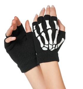 Fingerlose-Strickhandschuhe-mit-Skelettdruck-Halloweenhandschuhe-Karneval