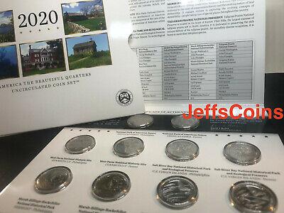 2020 P /& D US Mint America the Beautiful Uncirculated 10 Coin Quarter Set 20AA