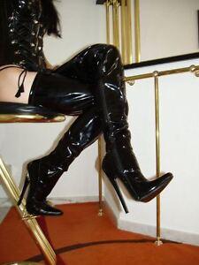 Das Bild wird geladen Lack-Crotch-Overknee-High-Heels-Stiefel-Schwarz-43- 795c349470d0c