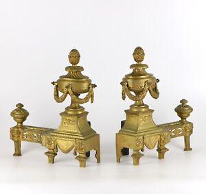 Paire-De-Chenets-Napoleon-III-En-Bronze-Dore-XIXeme