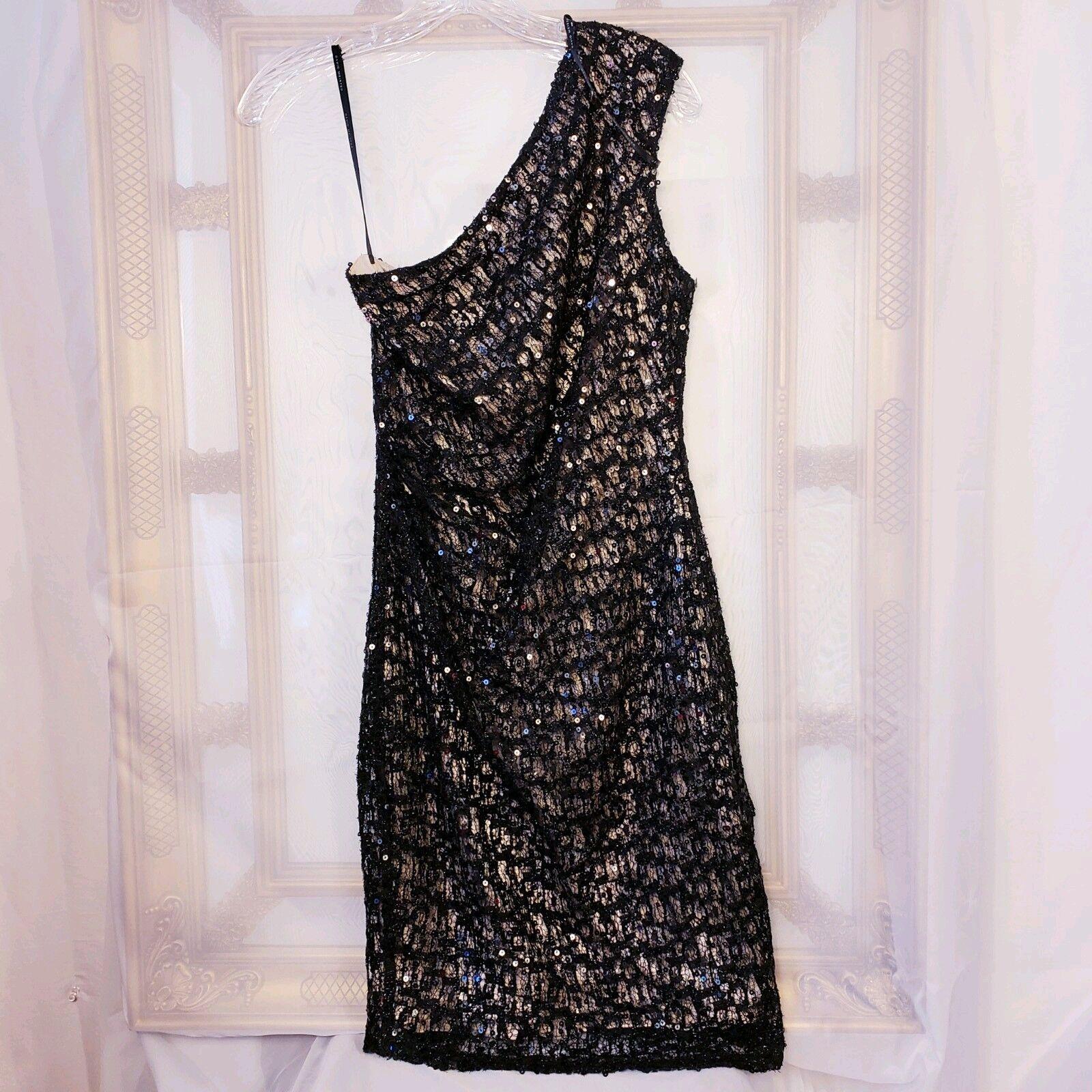 David Meister Sz 8 schwarz Sequin Lace Overlay One Shoulder Party Dress