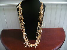 "Vintage 4 Strand Peach Cord Peach Glass Bead Shell Shard Bead 36"" Necklace"