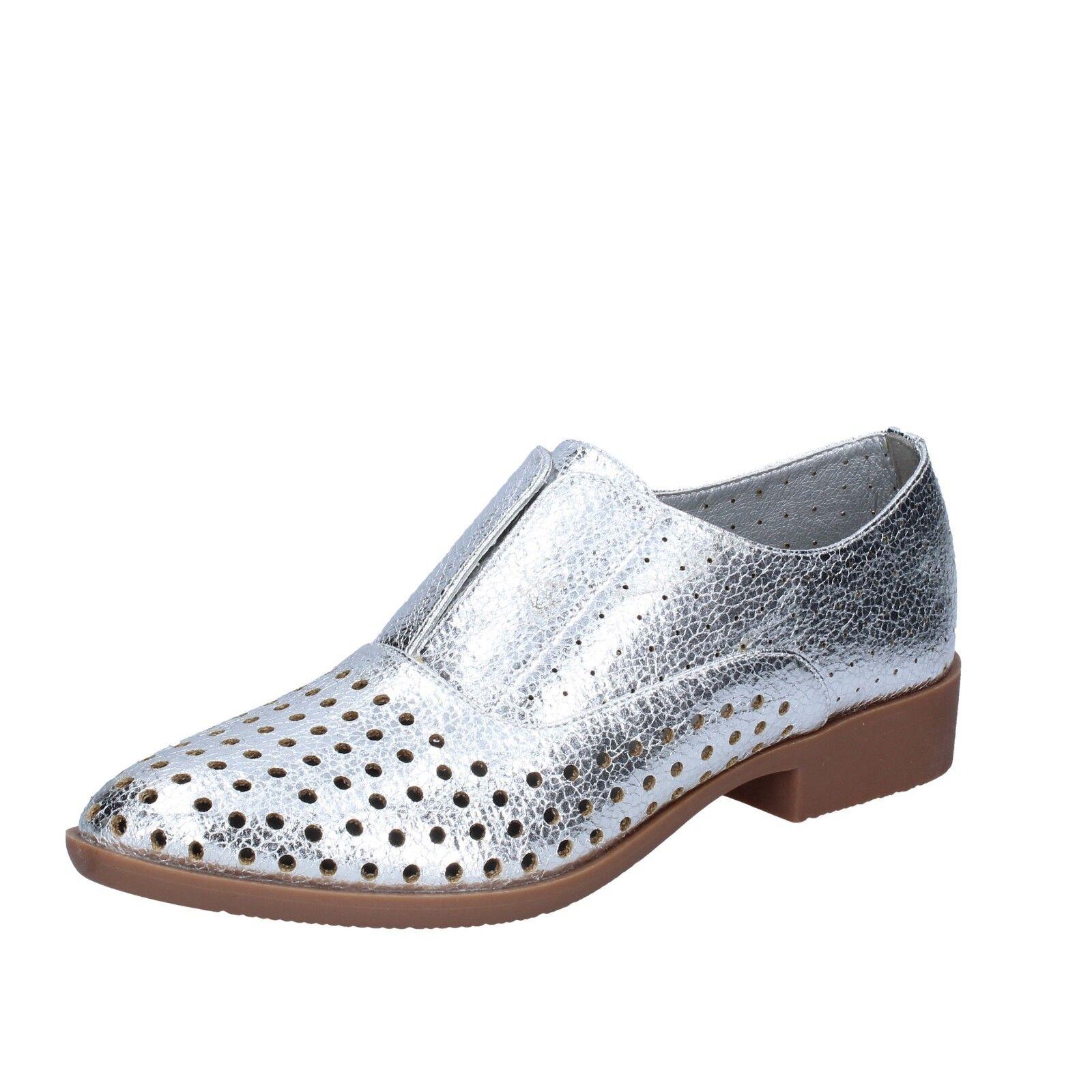 Chaussures Femmes Francesco Milano 38 UE élégant argent cuir bs73-38