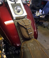 HARLEY SOFTAIL FATBOY HERITAGE DELUXE BROWN LEATHER TANK PANEL COVER CHAP BRA