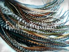Feather Hair Extensions 25 Pc Long Natural Colors WIld Thing Mix Beautiful
