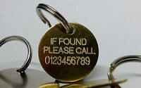 Engraved key fob finder contact phone number if lost found Tag keyring 30mm disc