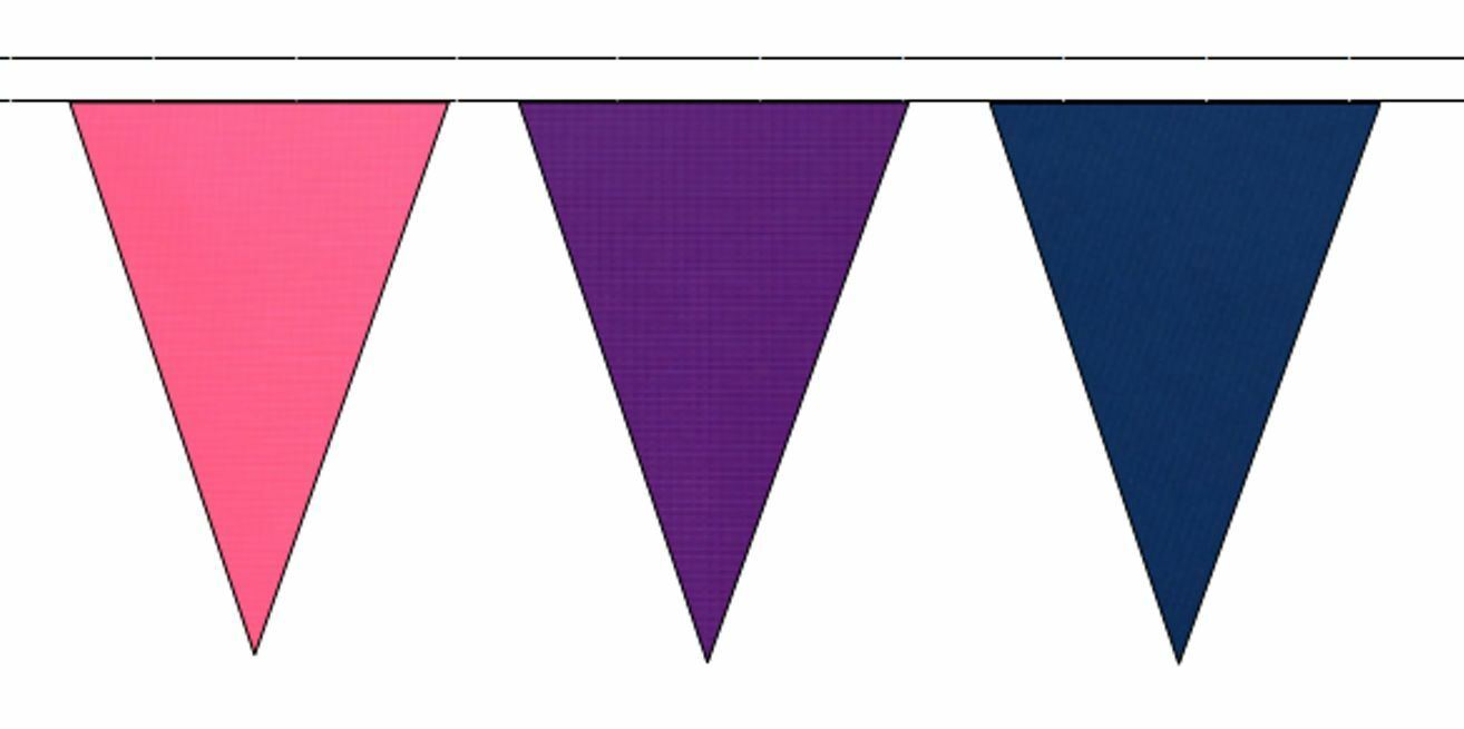 rose violet & Royal bleu Triangular Flag Bunting - 50m with 120 Flags