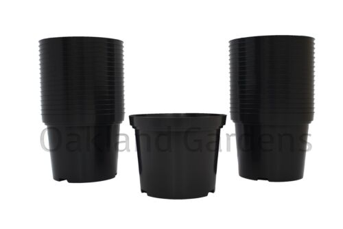 6 x 10 Litre Plant Pots Strong Plastic Black Flower Pot L LT High Quality