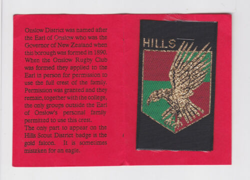 SCOUTS OF NEW ZEALAND NZ WELLINGTON HILLS SCOUT DISTRICT BADGE