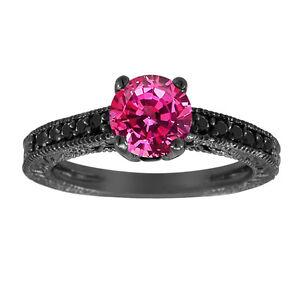 1-26ct-Pink-Sapphire-Engagement-Ring-Wedding-Ring-14K-Black-Gold-Vintage-Style
