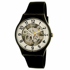 Swatch SUOB134 Men's Skeletor White & Silver Dial Black Band Watch
