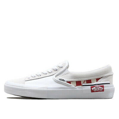 0bf1bee0e5f0a Details about New VANS Slip-on Cap Checkerboard Skate Shoes Sneakers - True  White/Racing Red