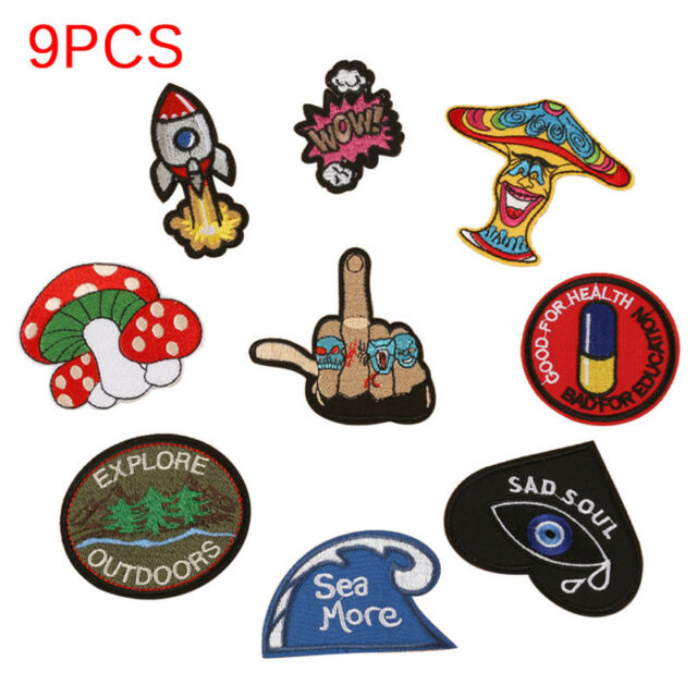 DIY Embroidery Patches Sew On Iron On Badge Applique Bag Craft Sticker Transfer+