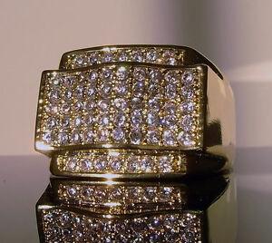 New 120 Mens Simulated Diamond Gold Gp Pinky Ring Custom