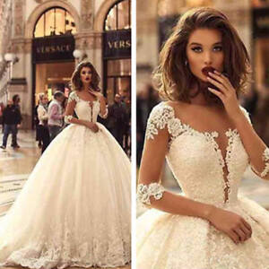 Image Is Loading Stunning Wedding Dresses Bridal Gowns Lace Half Sleeves