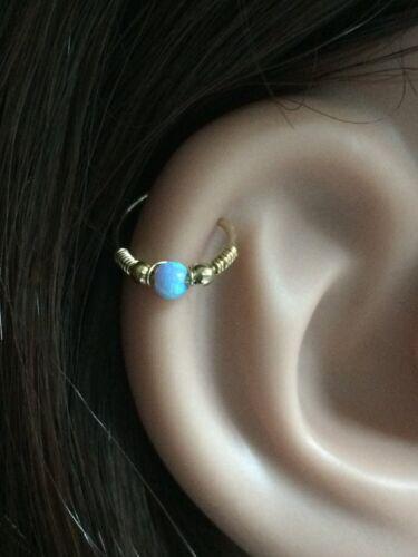 Opal Piercing Hoop Helix Earring Tragus Cartilage Nose Septum Ring Gold Silver