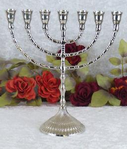 Messing-Davidleuchter-Menora-Kerzenleuchter-Leuchter-Kerzenstaender-silber-Deko