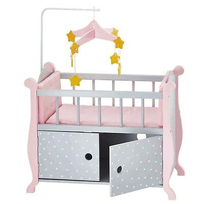 Olivia's little world Polka Dot Princess 45cm Doll Furniture Baby Nursery Bed
