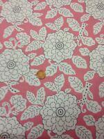 100% Cotton Quilt Fabric By 1/2 Mtr Benartex Pink Pale Grey Floral Kitty Yoshida