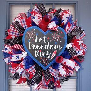 Patriotic Wreath, Let Freedom Ring, Front Door Wreath
