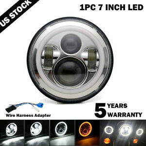 7-Inch-LED-Headlight-Projector-Halo-Motorcycle-For-Harley-Dyna-Cafe-Racer-Bobber