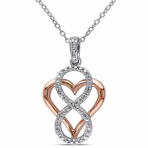 Two-tone Silver Diamond Heart Infinity Pendant Necklace